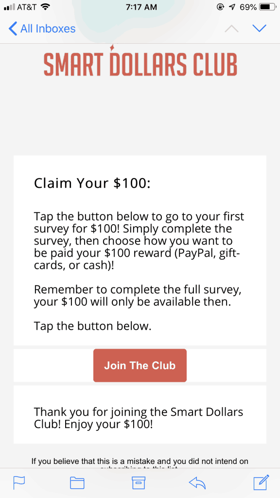 Smart Dollars Club $100 Survey