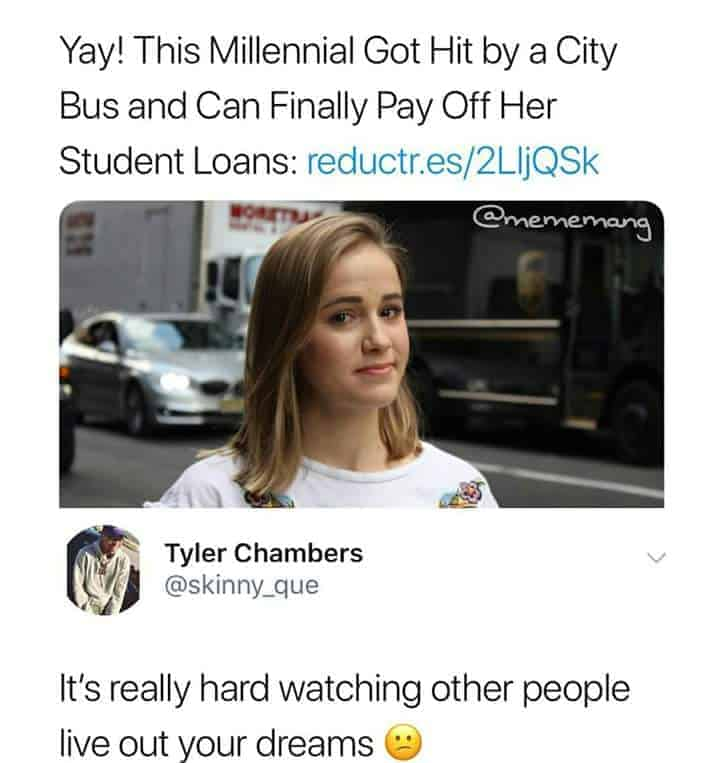 Student loan meme about getting hit by a bus