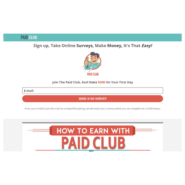 The paidclub.org homepage