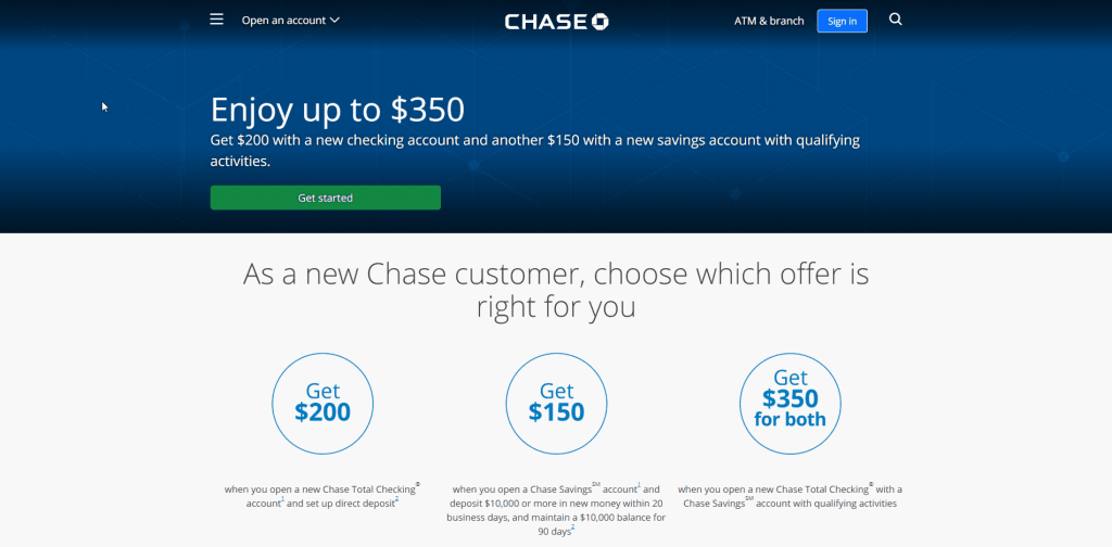 bank account signup bonus with chase