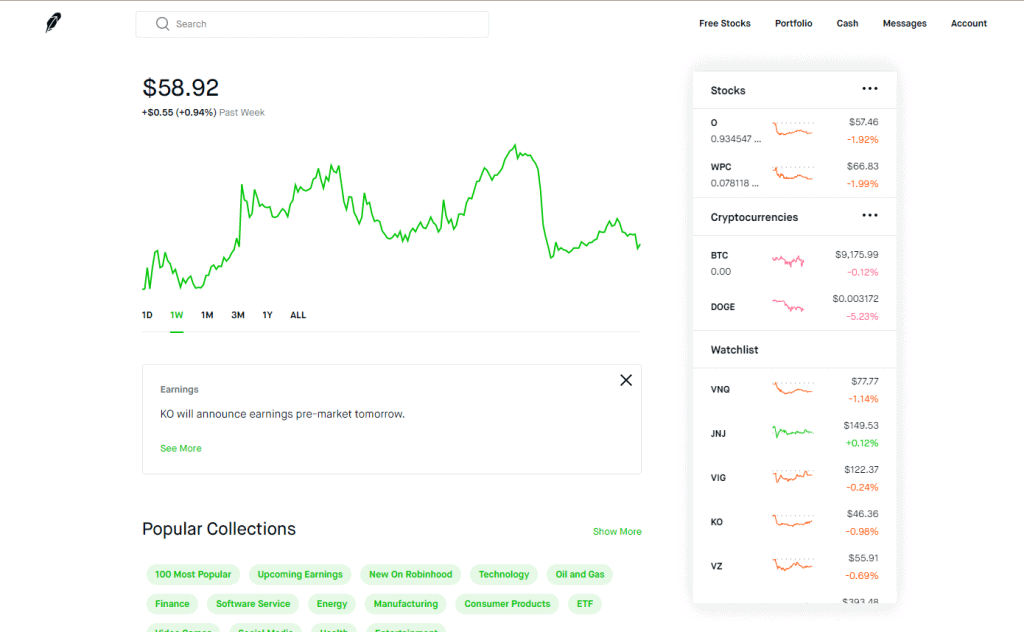 Robinhood dashboard